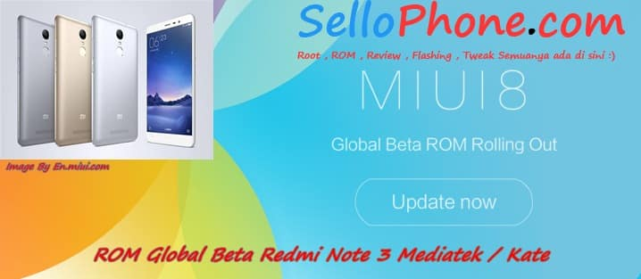 Rom MIUI 8 Global Beta Redmi Note 3 Mediatek